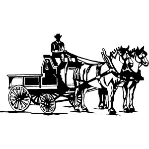 Decal - Horse Drawn Wagon 6""