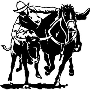 Decal - Steer Wrestler 12""