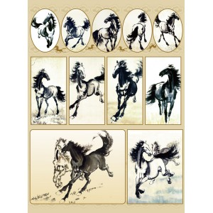 Horse Sketch Stickers Pack of 5 Sheets