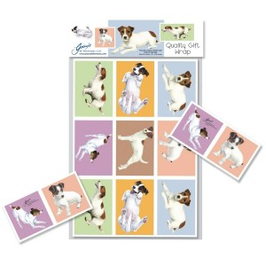 Jack Russell Gift Wrap Set 2 Sheets & 2 Gift Cards