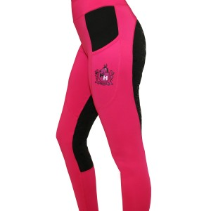 Happy Horse Lycra Stretch Breeches - Black/Pink