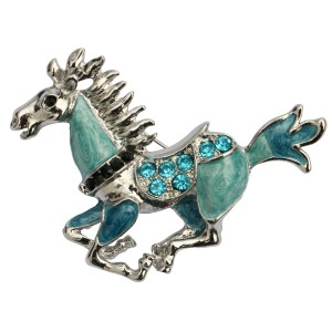 Blue & Turquoise Horse Brooch