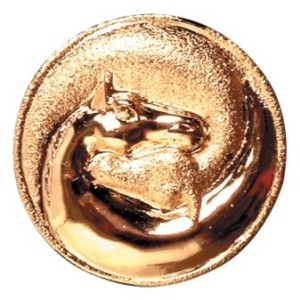 Hawthorne Tie Tack Small Gold Horsehead in Circle