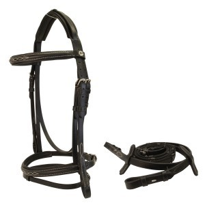 Sterling Snaffle Bridle w/ Fancy Stitching - Black