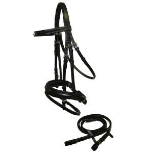 Sterling Black Pearl Snaffle Bridle w/Padded Poll & Browband
